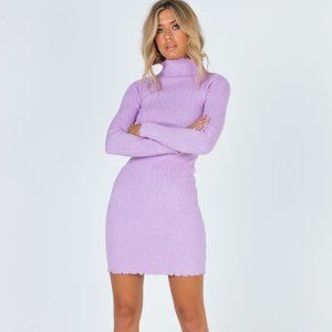 Princess Polly Verve Knit Lavender Mini Dress